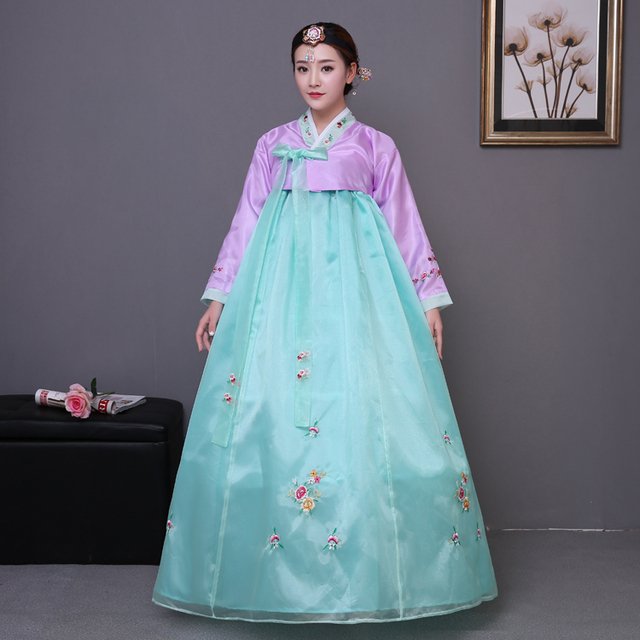 Women Korean Ethnic Costumes Embroidered Traditional Hanbok Dress Dae Jang Geum Dance Costume Lady National