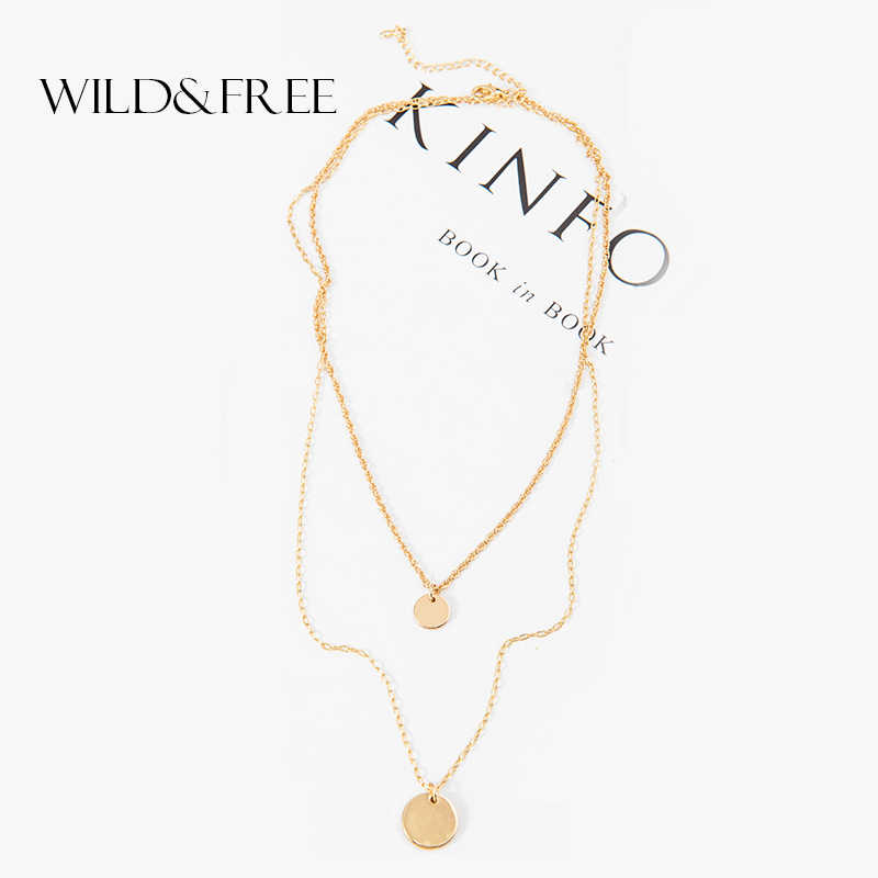 Wild&Free Double Layered Gold Sequins Choker Necklace For Women Girl Simple Layering Disc Pendant Necklaces Boho Chokers Jewelry