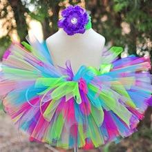 Разноцветные юбки-пачки для маленьких девочек пышные тюлевые пахотные петушки с пионами, комплект цветковых оголовьев, детские юбки для дня рождения