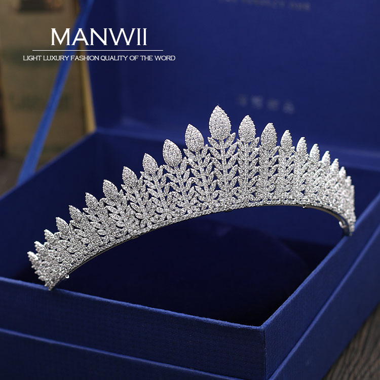 MANWII New micro insert AAA zircon Tiaras and Crowns Bride Wedding tiara Wedding hair accessories for women hair jewelry HD2059 mi happiness red bride wedding hair tiaras gorgeous hair jewelry hanfu costume hair accessory