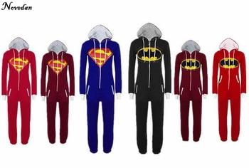 Halloween Party Cosplay Costume Unisex Adult Pajamas Onesie Men Women Batman vs Superman One Piece Sleepsuit Sleepwear Suit
