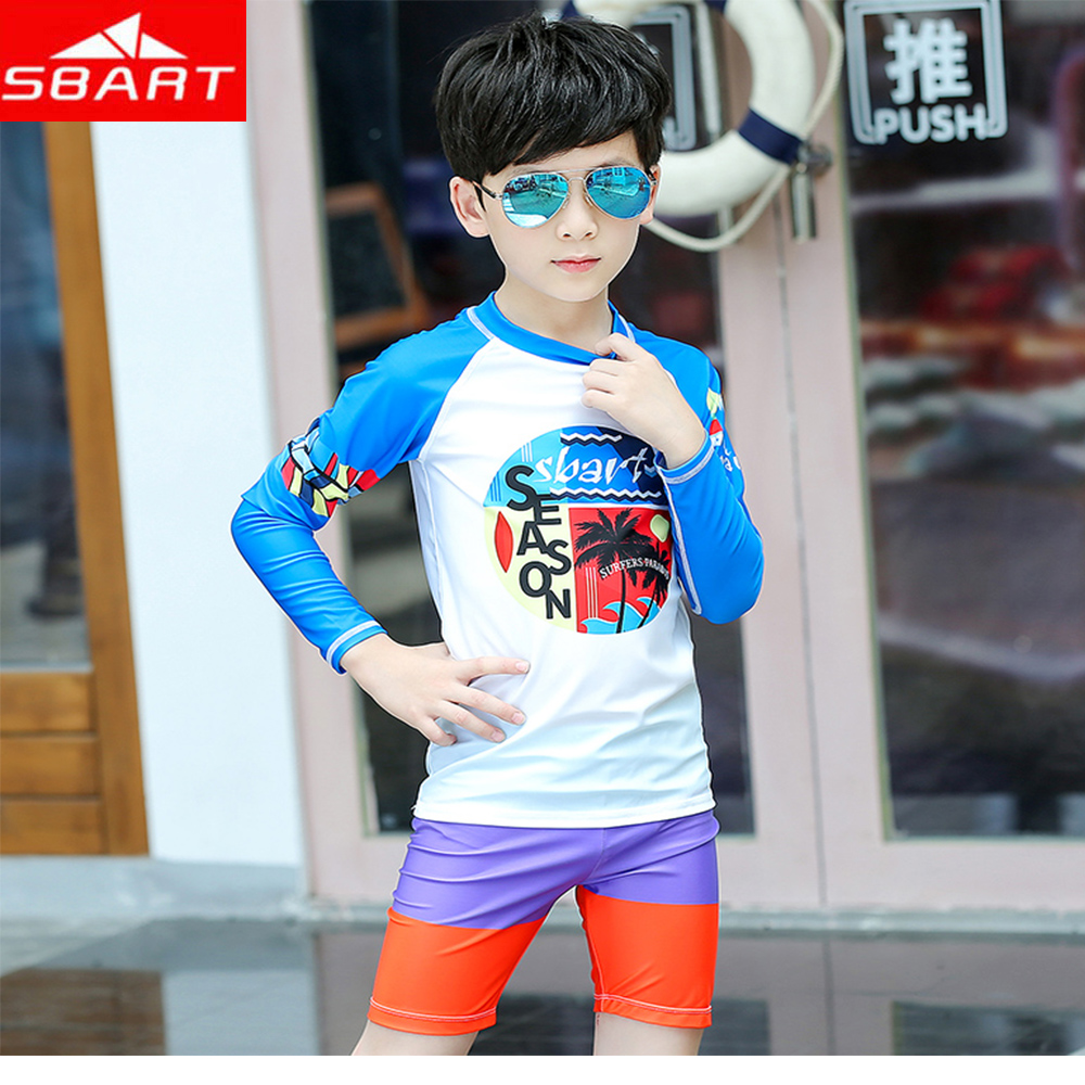 2019 Promotion Hot Sale Sbart Children's Summer Printing Swimsuit Boy Split Beach Sunscreen Quick-drying Two-piece Top+shorts