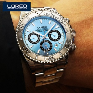 Image 5 - LOREO Mens Sport multifunción Dial banda de acero luminoso 200M impermeable automático relojes de pulsera mecánicos con mes, semana, fecha