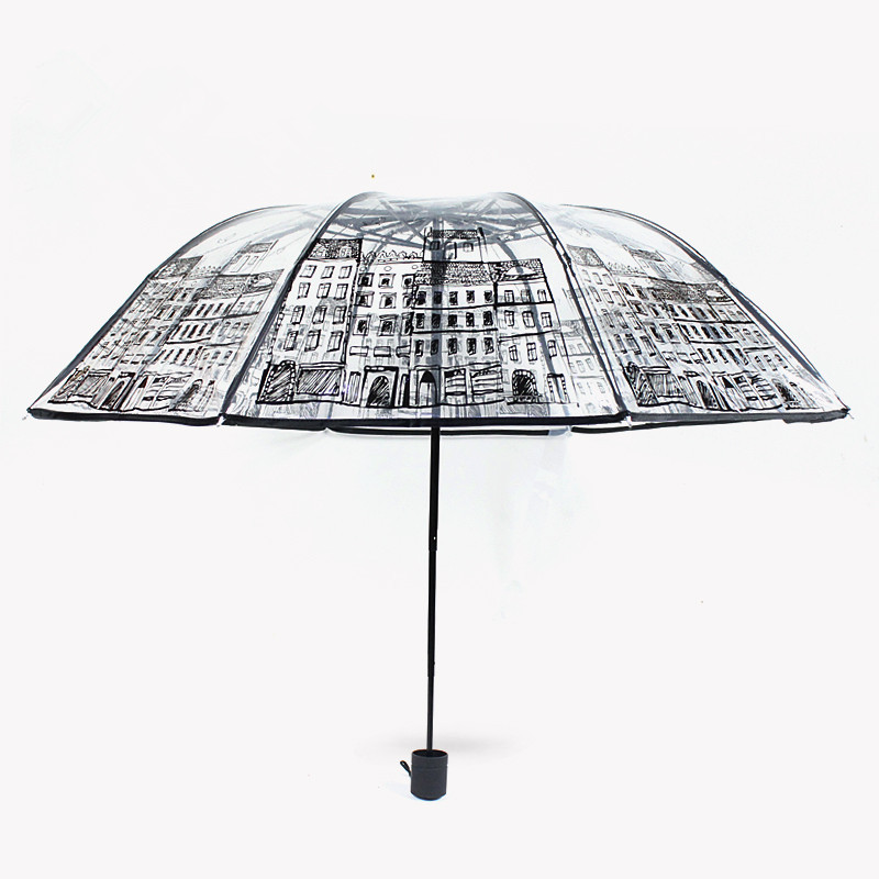 Parapluie en PVC transparent en plastique Three Folding Three