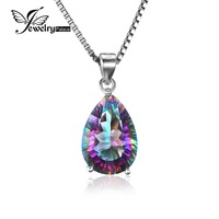 4ct Genuine Rainbow Fire Mystic Topaz Solid 925 Sterling Silver Pendant Pear Concave Cut Vintage Feelcolor