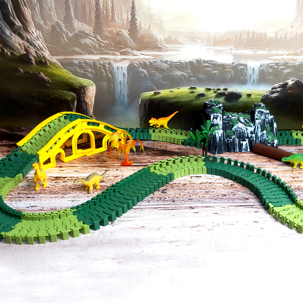 Race Track Dinosaur Toys Create a Road military Diecast Flexible Track Bend set DIY Educational Toys for Children