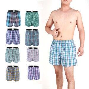 Image 2 - 5 Pcs Heren Ondergoed Boxers Shorts Casual Katoen Slaap Onderbroek Kwaliteit Plaid Losse Comfortabele Homewear Gestreepte Pijl Slipje