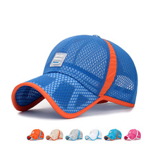 2020 Breathable Hollow Out Mesh Caps Outdoor Summer Camp Sunscreen Baseball Cap Adjustable Snapback Hats for Children Boys Girls