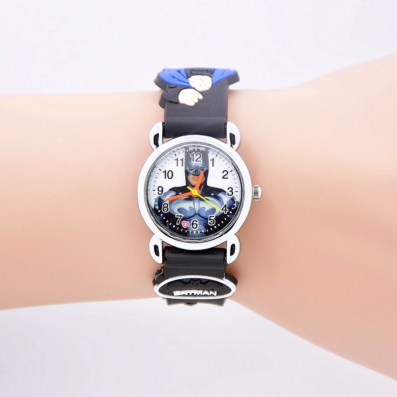 2016 Hot sale fashion Batman Children's cartoon watches purses Students Kids purse silicone quartz watch cute boy wristwatches fashion cute cartoon pu band students watch
