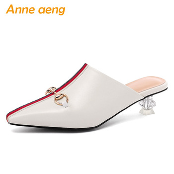 2019 New Summer Genuine Leather Outside Women Slippers Middle Heel Crystal Fashion Sexy Ladies Women Shoes Beige Mules Slides
