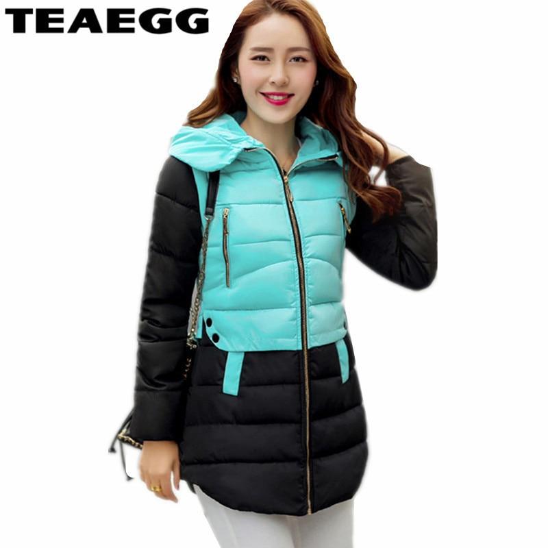 TEAEGG Blue Women s Winter Jackets 2017 Hood Thick Cotton Coat Female Jacket Parka Womens Clothing