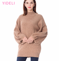 Simplee Knitted Turtleneck Sweater Women Loose Casual Gray Winter Pullover Autumn Streetwear Warm Black Lanter Sleene