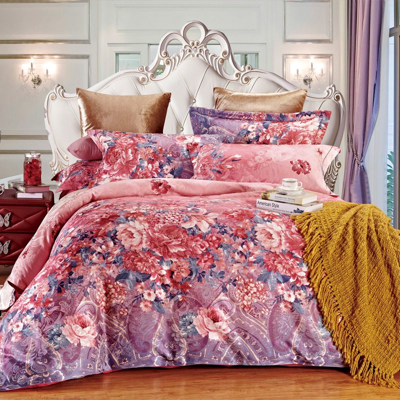super sale pastoral jacquard floral comforter cover set with pink luxury bedclothes for queen. Black Bedroom Furniture Sets. Home Design Ideas
