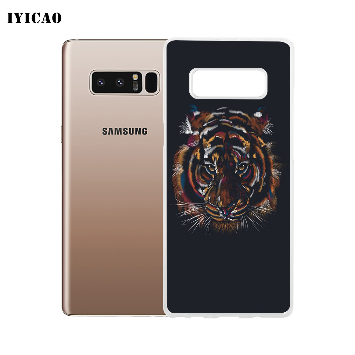 IYICAO Cool neon tiger Soft Silicone Phone Case for Samsung A5 A6 A6 Plus  A7 A8 A9 J3 J5 J7 Note 8 9 TPU Cover