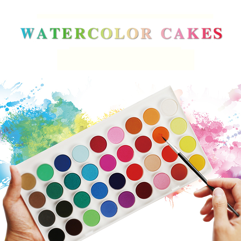 JIANWU Portable art painting watercolor and pigment suit 12/16/28/36 color sketch watercolor Powder Drawing supplies made from powder and glycerine pigment suit children student use beginner fine arts painting toolbox canning color 100ml