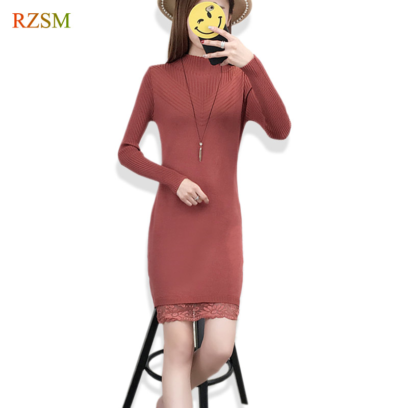Casual turtleneck long knitted sweater dress women Cotton slim bodycon lace dress pullover female Autumn spring bottoming dress women turtleneck front pocket sweater dress