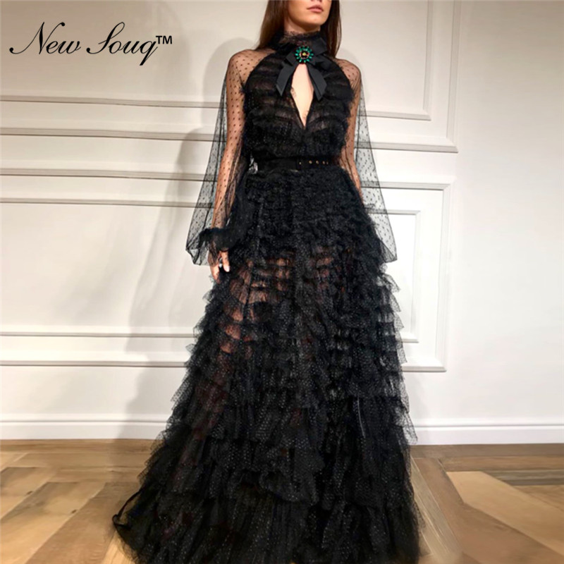 Black Vintage   Evening     Dresses   Elegant Tulle Party   Dress   2019 Islamic Dubai Kaftan Saudi Arabic Long Prom   Dress   Gowns Vestidos