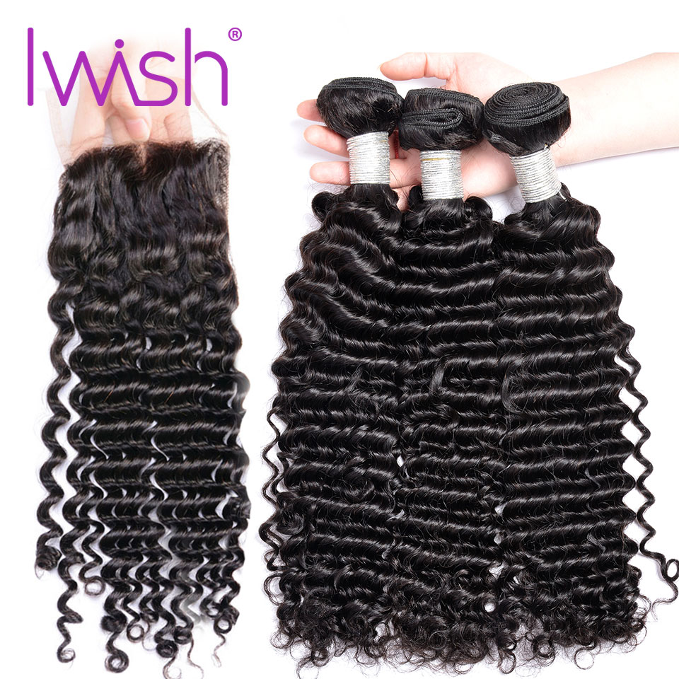 Iwish Deep Wave Brazilian Hair Weave With Closure 3 Bundle With Lace Closure 4 Pcs/Lot Remy Human Hair Bundles With Closure 1B#