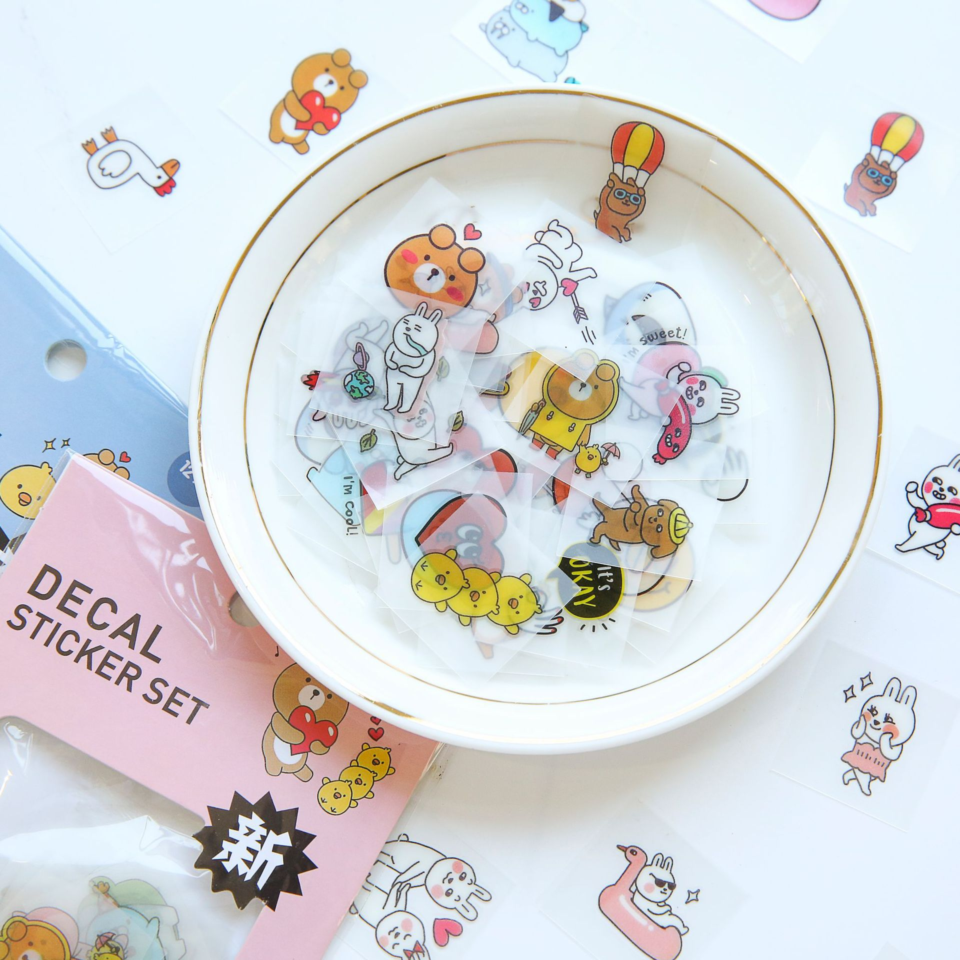 Creative Kawaii Cartoon Animal Bear Duck Decorative PVC Stickers Scrapbooking Stick Label Diary Stationery Album Stickers