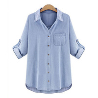 Camisa Jeans Feminino Blusas 2016 Blouse Femme Plus Size Women Blouses Blue Denim Shirt Woman Long