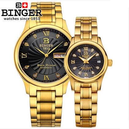 Tag New Fashion gold silver Couple Watch Binger digital wristwatch Round military men/ women dress sports watches golden
