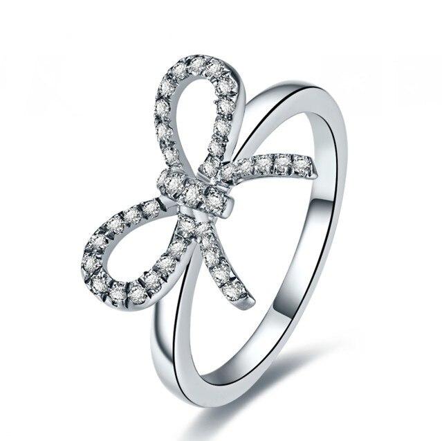 Butterflies shape women ring Sterling Silver 18karat White Gold