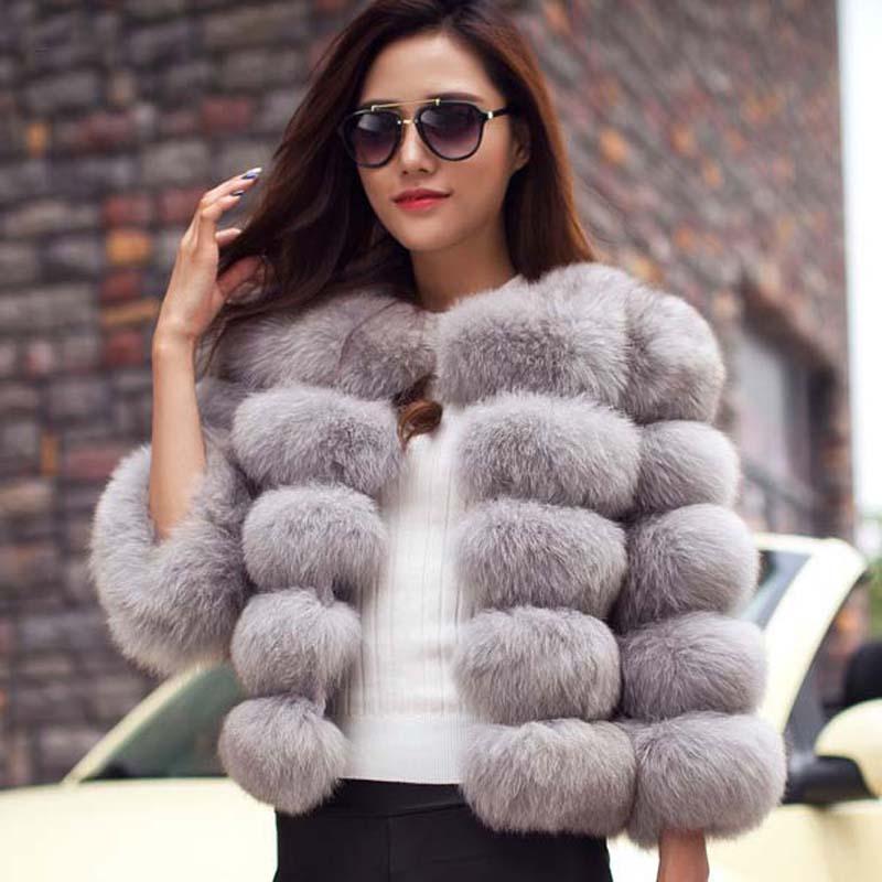 S 3XL Mink Coats Women 2016 Winter New Fashion Pink FAUX Fur Coat Elegant Thick Warm