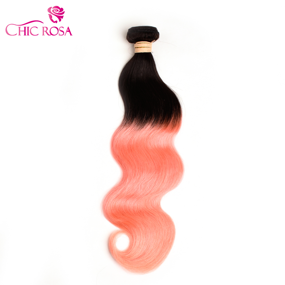 Chic Rosa T1b Rose Gold Body Wave Hair Bundles Remy Hair
