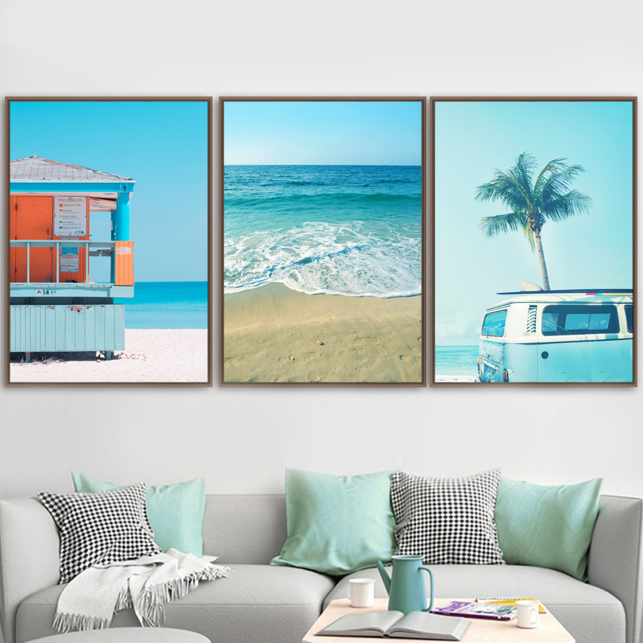 Image 3 - Sea Beach Surf Car Coconut Tree Quotes Wall Art Canvas Painting Nordic Posters And Prints Wall Pictures For Living Room Decor-in Painting & Calligraphy from Home & Garden