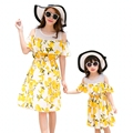 New summer Mother daughter dresses baby Girls Dress Family look Outfits Yellow lemon printing women girl holiday wedding dress