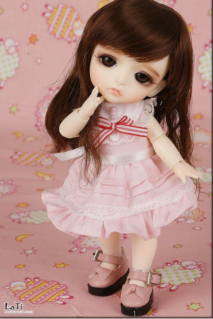 light pink long WIG 5-6' bjd 1/8 size doll use LATI ...