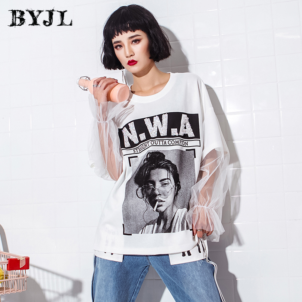 Punk Hip Hop White T Shirt Women O Neck Fashionable T shirt Cotton Short Sleeve Basic O Neck Long Tops Tee Female SZ1128