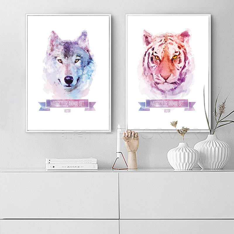 Wall Art Dog Wolf Tiger Animals Watercolor Design Posters Canvas Painting Cafe Shop Home Decor On Concise Print Artworks