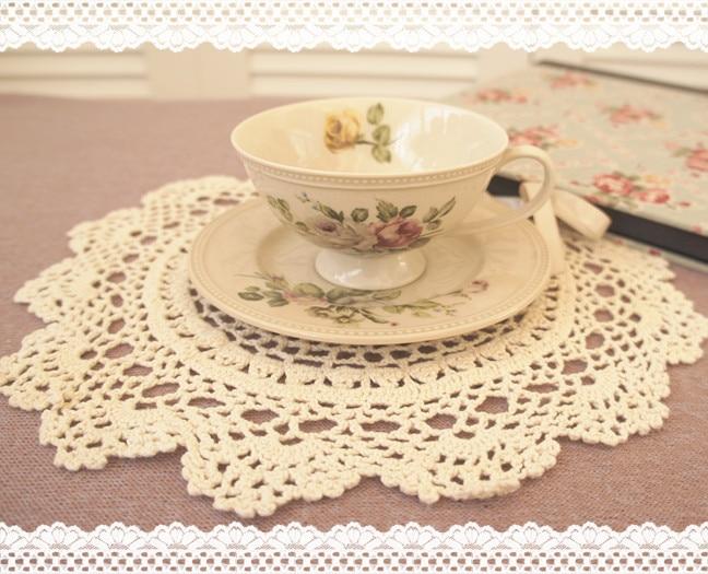 ᐂAlgodón ronda de estilo europeo blanco y beige crochet artesanía ...