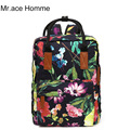 Mr. Ace Homme Brand Quality Floral Canvas Bag School Backpack For Teenager Girl Laptop Bag Printing Rucksack