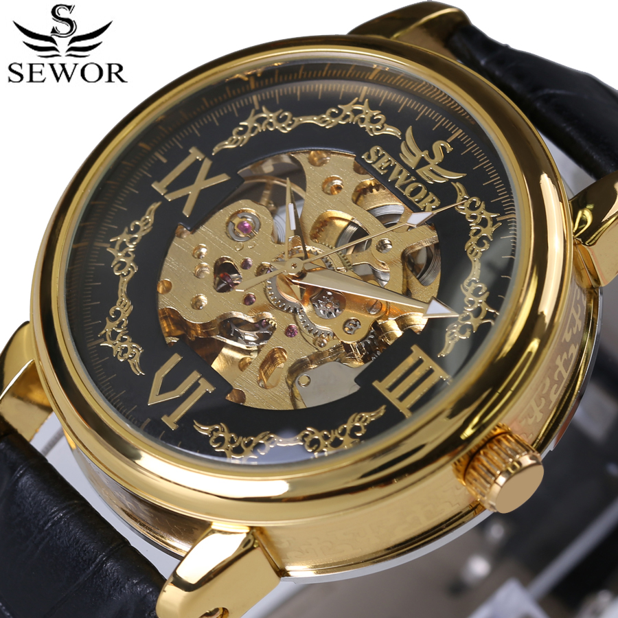 SEWOR Mens Orologi Top Brand Luxury Black Leather Uomo Automatic Skeleton meccanico Orologio Mens Sport Watch Fashion Casual Clock