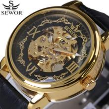 SEWOR Mens Relógios Top Marca de Luxo Homens De Couro Preto Esqueleto mecânico Automático Relógio Do Esporte Dos Homens Relógio de Forma Relógio Ocasional
