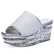 slides size 34-40 summer rhinestone party slippers woman shoes women's slides wedges high heels open toe sandals lady flip-flops