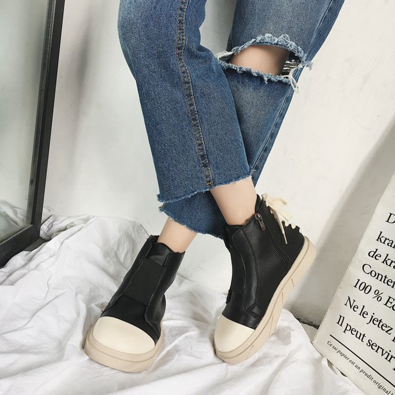 COOTELILI Autumn Women Ankle Boots For Women Girls Boots Fashion Autumn Brand Sneakers Black White Rubber Shoes Women 35-39 (5)