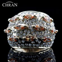 Chran Popular Gold Color Statement Rings Jewelry Wholesale Cubic Zirconia Promised For Women Valentines Gifts