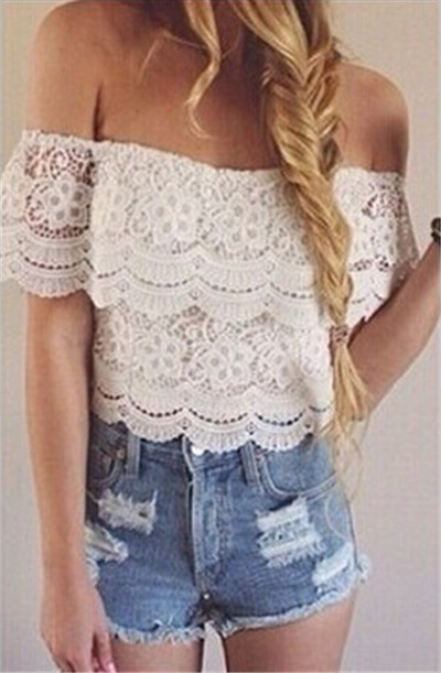 Women Off Shouler Lace Crop Tops 2015 Cropped Fashion Sexy White Short Lace Crop Top Tee Shirt Tops  Hollow Out T-shirts Blusas