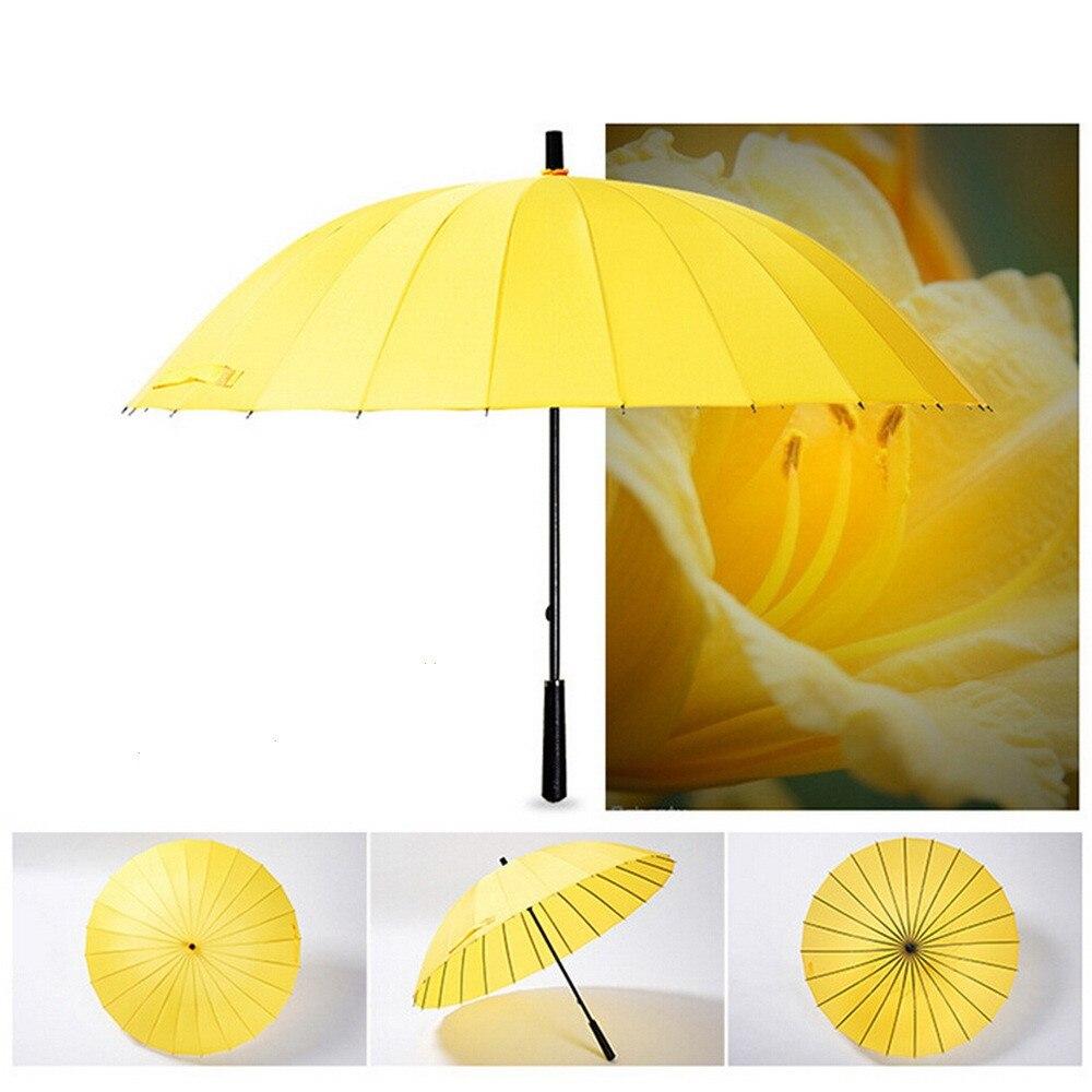 24 the bone super pure color umbrella carom cloth yellow blue durable fashion creative Sunny umbrella Portable rain gear