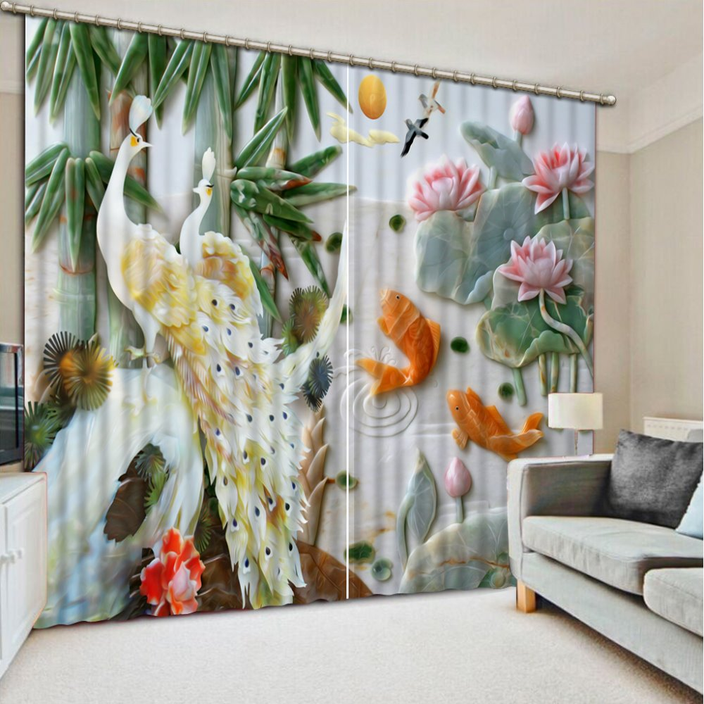 Custom 3d Stereoscopic Luxury Curtains For Living Room Jade Carving Lotus  Leaf Peacock Valance Curtains Kitchen Curtains