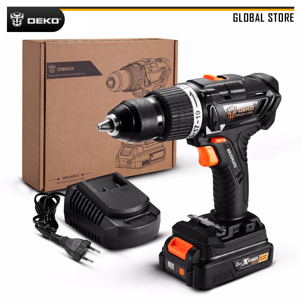 DEKO GBD20DU3 20V MAX 2 Speed Brushless Impact Cordless Drill Lithium-Ion Battery Electric Screwdriver For Woodworking Home DIY