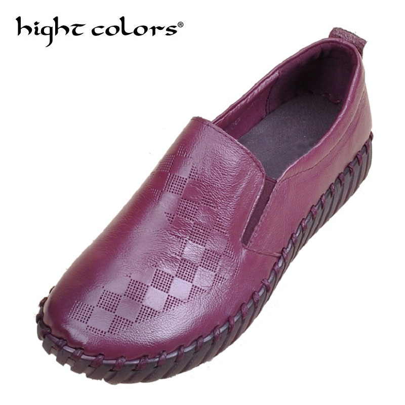 Фото Purple Women Flat Loafers Ladies Elegant Genuine Leather Moccasin Shoes Woman Handmade Casual Shoes Flats Fashion Women Shoes