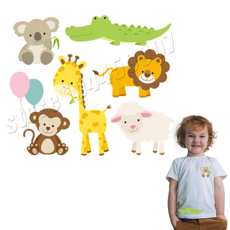 Kawaii наклейки с изображениями животных для детей DIY аксессуар Аппликация моющиеся a-уровень патчи сладкий Утюг на теплопередаче виниловые парчи