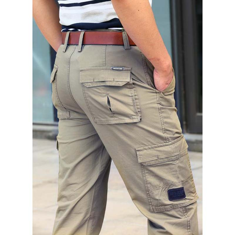 Fashion Multi Pocket Solid Men Cargo Pants Good Quality Loose Straight Casual pants Big yards Men Trousers Size: 30-44 Bottoms men s loose cotton straight barrel multi pocket casual wear pants