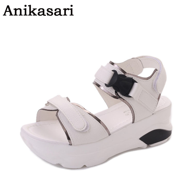 Anikasari Wedges Platform Sandals Women High Heel-ed Women Shoes Hot Buckle New Summer Shoes Woman Gladiator Sandals Women 2017 phyanic 2017 gladiator sandals gold silver shoes woman summer platform wedges glitters creepers casual women shoes phy3323