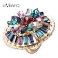 Rodada grandes Anéis de strass cristal eManco 2016 marca de moda das mulheres do vintage bonito liga de zinco personalizado charme anéis RG04282