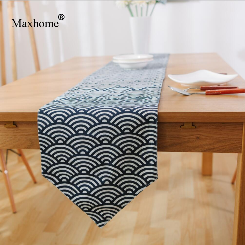 Blue Waves Cotton Linen Table Runner Modern Chinese